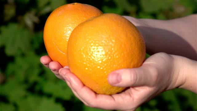 Two videos of hands holding oranges in real slow motion