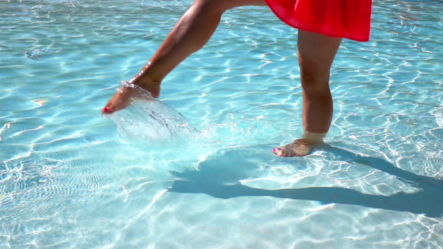 Two videos of legs splashing the water-real slow motion