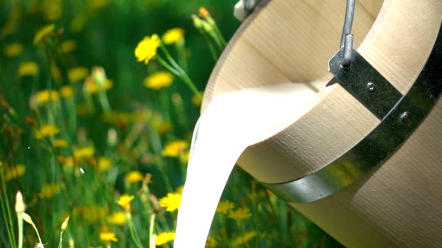 vídeos de stock e filmes b-roll de two videos of pouring milk from wooden bucket-real slow motion - leite