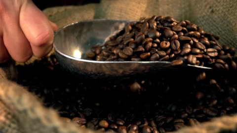 zwei videos von ausschöpfen kaffeebohnen in real zeitlupe - bean stock-videos und b-roll-filmmaterial