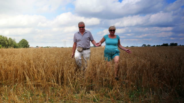 Twee video's van senior paar wandelen in het veld in 4K