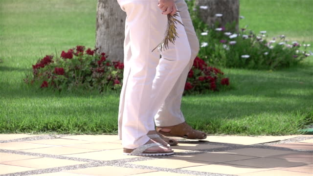 two videos of senior couple walking in the garden-slow motion - flip flop stock videos and b-roll footage