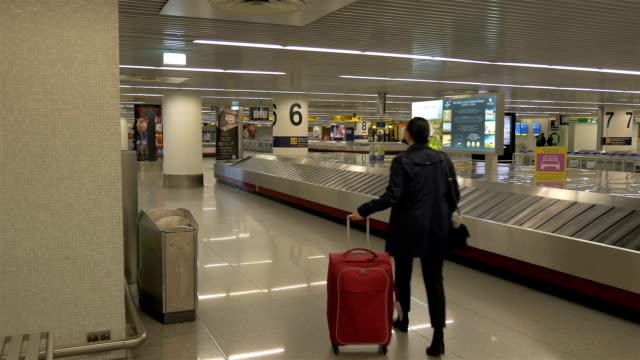 vídeos y material grabado en eventos de stock de dos vídeos de mujer en el aeropuerto - recibir