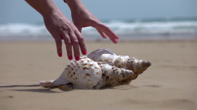 Two videos of woman picking up shells-real slow motion