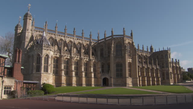 Two views of the exterior of Windsor Castle's St George's Chapel where Prince Harry and Meghan Markle plan to marry in Spring 2018 Windsor UK...