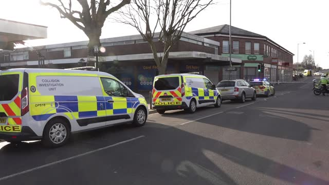 two week old baby killed after car hits pram; england: west midlands: walsall: brownhills: ext police car and ambulance at scene of accident, white... - grey colour stock videos & royalty-free footage