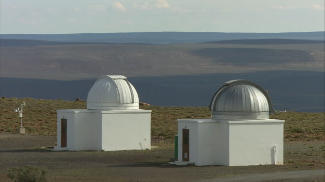 ws two white observatories with dome shaped roofs / karoo, south africa - the karoo stock videos & royalty-free footage