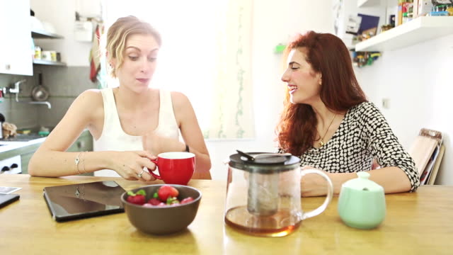 Two woman friends talking and drinking a tea