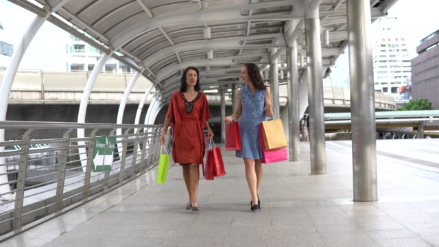 two woman shopping - shopping centre stock videos & royalty-free footage