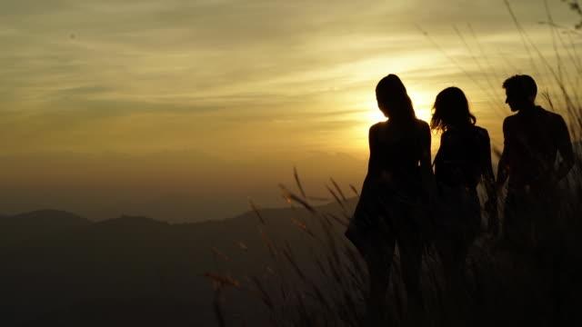 vídeos y material grabado en eventos de stock de two women and one man looking out at view of lake at sunset - silueta