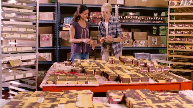 ms, pan, two women arranging boxes in shop of handmade soap, haverstraw, new york state, usa - medium shot stock videos & royalty-free footage