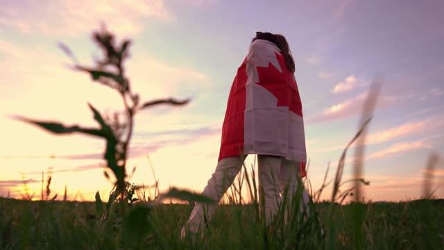 vídeos de stock e filmes b-roll de two women  covering themselves with canadian flag on meadow - bandeira do canadá