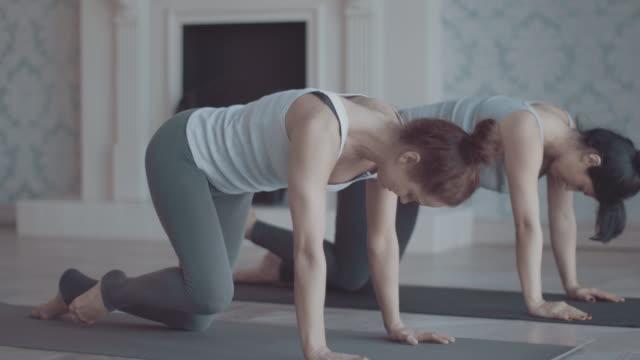 Twee vrouwen doen yoga meditatie en rekoefeningen