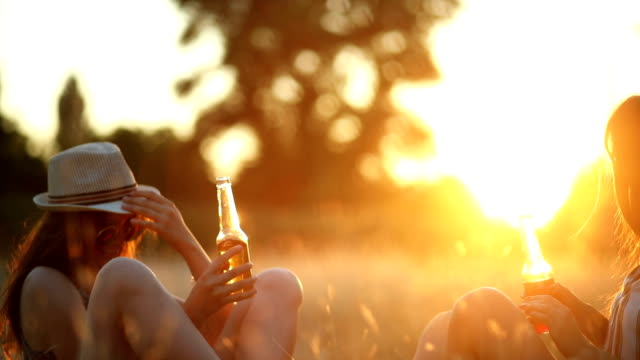 two women drinking and playing in meadow - ritemprarsi video stock e b–roll