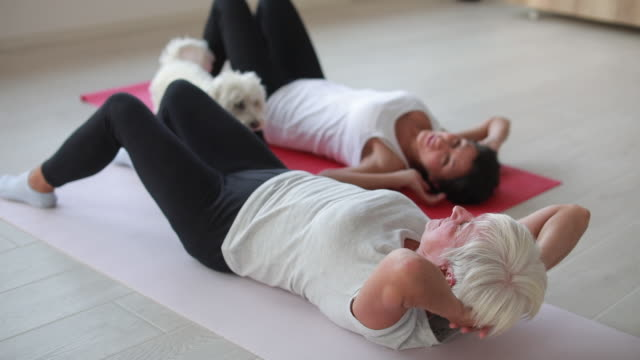 two women exercising indoors - lying down stock videos & royalty-free footage