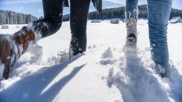 Zwei Frauen die Winterlandschaft erkunden