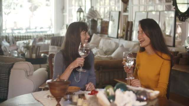 two women having lunch together - drink stock videos & royalty-free footage