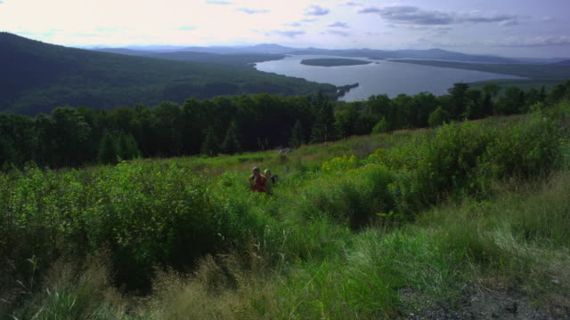 ws ha two women hiking at the height of land overlooking mooselookmeguntic lake, outside of rangeley, maine, usa - alm stock-videos und b-roll-filmmaterial