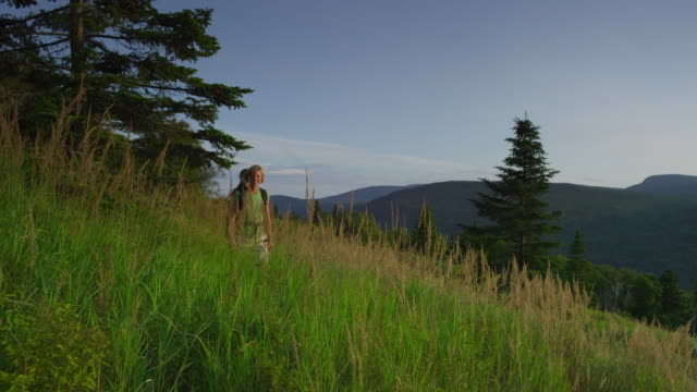 ws pan two women hiking at the height of land overlooking mooselookmeguntic lake, outside of rangeley, maine, usa - alm stock-videos und b-roll-filmmaterial