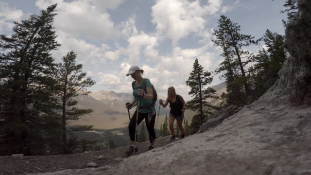 two women hiking up alpine trail - hiking pole stock videos and b-roll footage