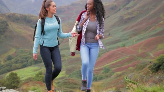 vídeos de stock, filmes e b-roll de duas mulheres caminhadas montanha - passar a frente