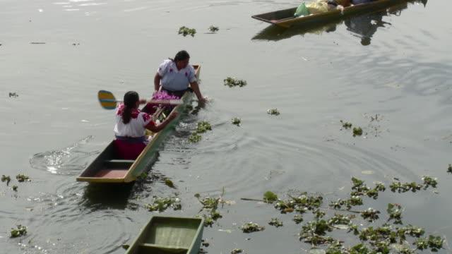 ha zo ws two women in traditional dresses paddling in waterways / patzcuaro, michoacan, mexico - 男性と複数の女性点の映像素材/bロール