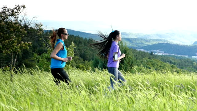 two women jogging in nature-slow motion - arm band stock videos & royalty-free footage