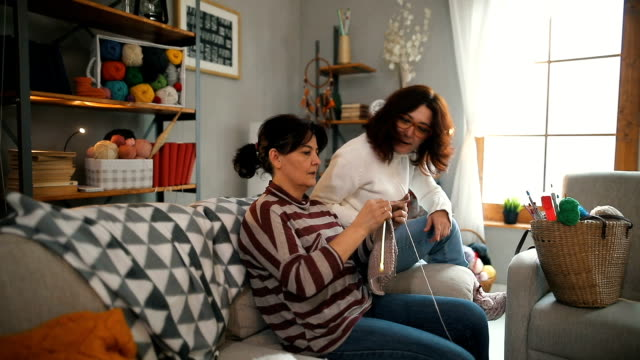 two women knitting at home - knitting needle stock videos & royalty-free footage