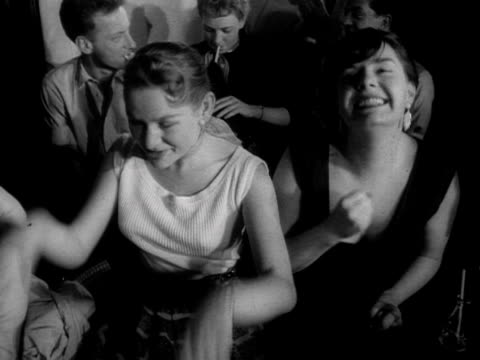 two women laugh and hand dance in a jazz club 1957 - jazz stock videos & royalty-free footage
