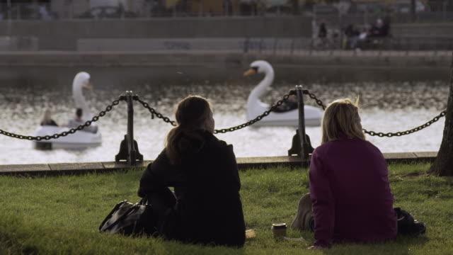two women looking at swan boat in copenhagen - kopenhagen stock-videos und b-roll-filmmaterial