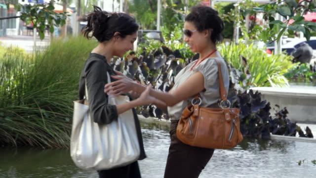 vídeos y material grabado en eventos de stock de two women meeting on city street - brazos estirados