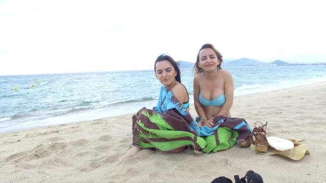 Two women on the beach.
