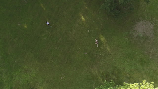 two women playing badminton on the lawn. top view directly above, aerial drone video - lawn stock videos & royalty-free footage