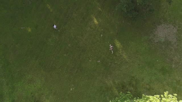 vídeos de stock, filmes e b-roll de duas mulheres jogando badminton no gramado. vista superior diretamente, zangão aéreo vídeo acima - badmínton esporte