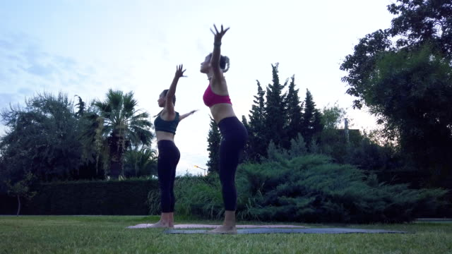 two women practicing of yoga in public park - sun salutation stock videos & royalty-free footage