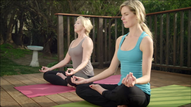 WS ZI ZO Two women practicing  yoga on garden deck / Los Angeles, CA, United States