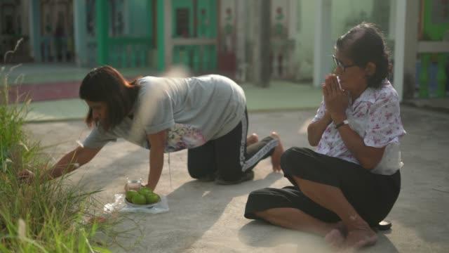 vídeos y material grabado en eventos de stock de dos mujeres rezando a su antepasado en el festival de qingming - luto