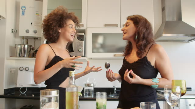 ms two women prepare cocktails in an apartment / rio de janeiro, brazil - weibliche freundschaft stock-videos und b-roll-filmmaterial