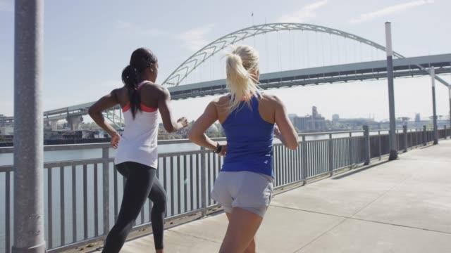 Two Women Running in Portland, Oregon