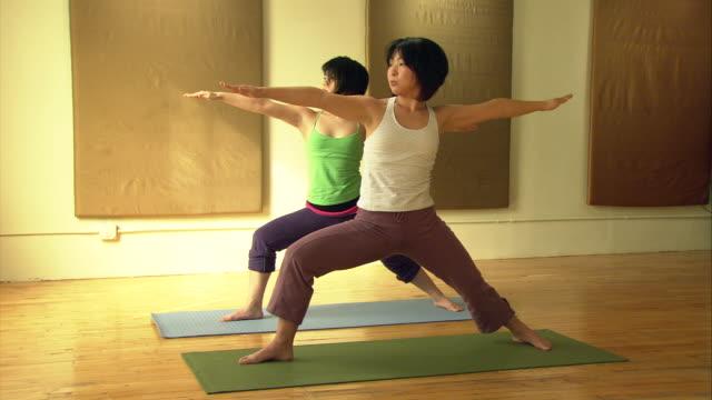 vídeos y material grabado en eventos de stock de ws two women side by side on mats in yoga studio, bending over and touching their toes/ new york, ny - centro de yoga