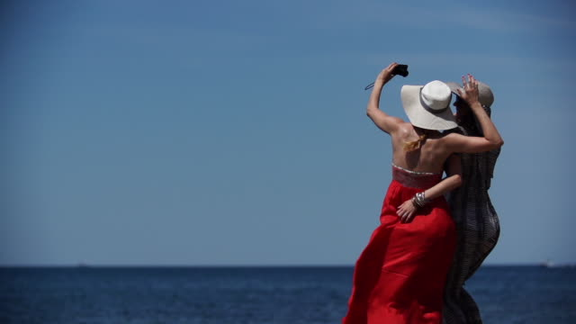 two women taking selfie at seaside - female friendship stock videos & royalty-free footage