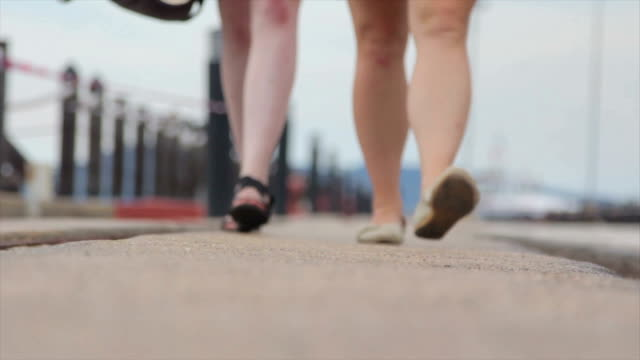 Two Women Walking along a Marina, Just Feet