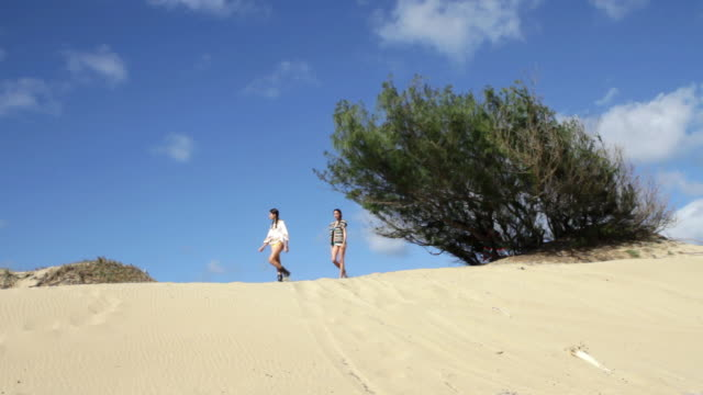 two women walking on sand dunes - puerto rican ethnicity stock videos & royalty-free footage