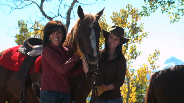 two women with a horse - see other clips from this shoot 1139 stock videos & royalty-free footage