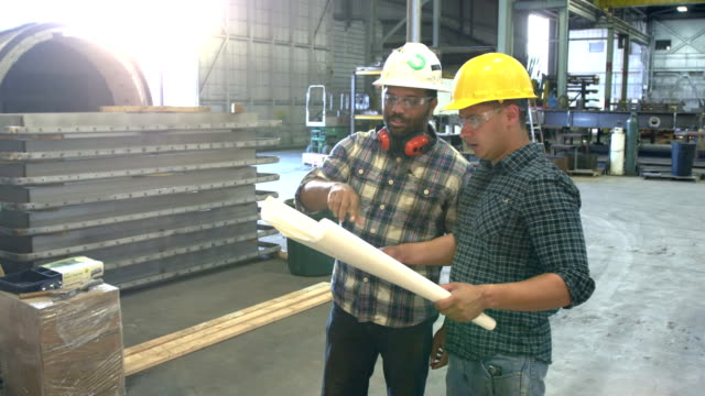 two workers in warehouse looking at plans - caposquadra video stock e b–roll