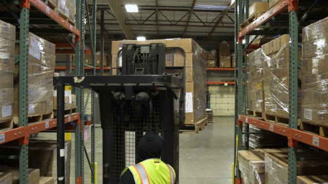 two workers using forklifts in a warehouse - one mid adult man only stock videos & royalty-free footage