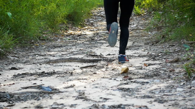 Two young Asian woman running on a trail running track at forest trail, healthy lifestyle and fitness sport concept