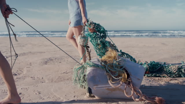 two young beautiful women collecting washed up trash on beach - responsibility stock videos & royalty-free footage