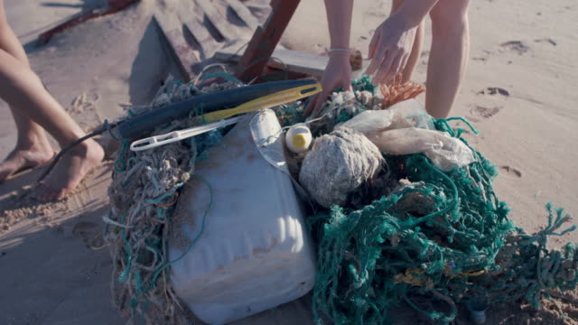 two young beautiful women collecting washed up trash on beach - campaigner stock videos & royalty-free footage