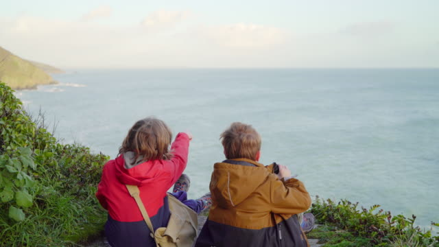 two young brothers chatting at a cliff top viewpoint - rock face stock videos & royalty-free footage